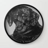 dachshund Wall Clocks featuring Dachshund by Natasha Maiklem