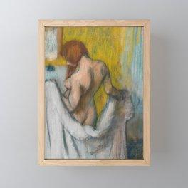 Woman with a Towel by Edgar Degas Framed Mini Art Print