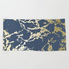 Kintsugi Ceramic Gold on Indigo Blue Beach Towel