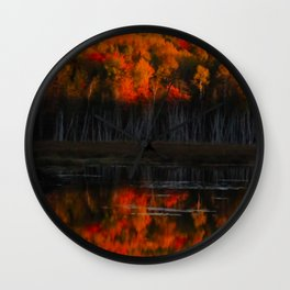 Autumn Sunset Reflection at the Moosehorn Wall Clock