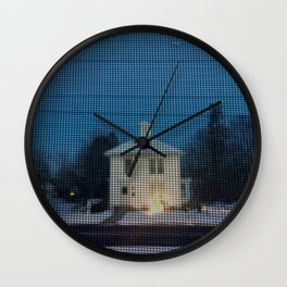 White house w/first snow & creche Wall Clock