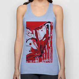 BUTTERFLY Red and White Glowing Unisex Tank Top
