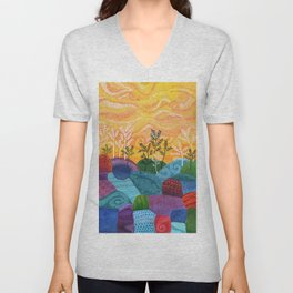 on and on fields Unisex V-Neck