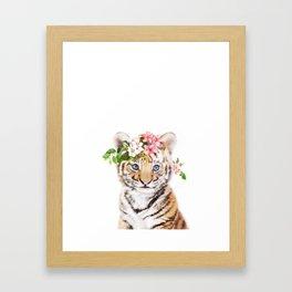 Tiger Cub with Flower Crown Framed Art Print