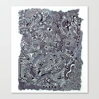 zentangle Canvas Prints featuring zentangle by Kesar Khinvasara
