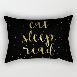 Eat, Sleep, Read (Stars) - Gold Rectangular Pillow
