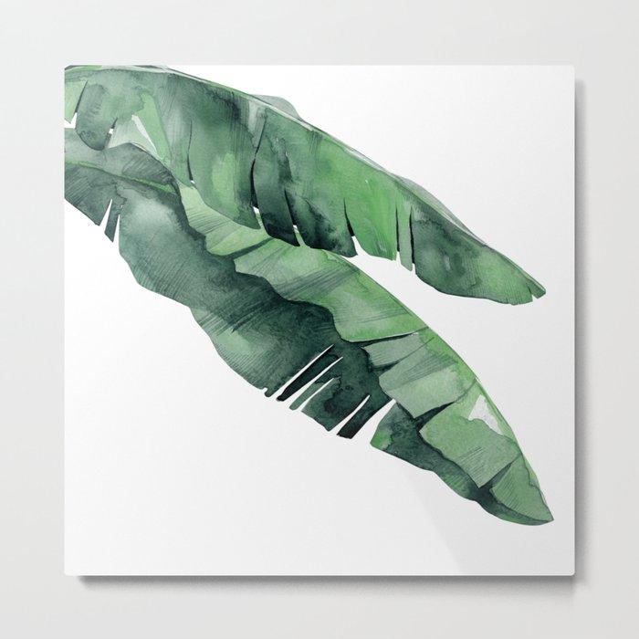 Tropical Island Leaves Pair Metal Print