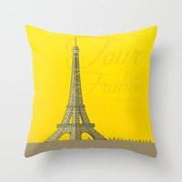 tour de france Throw Pillows featuring Tour De France Eiffel Tower by Wyatt Design