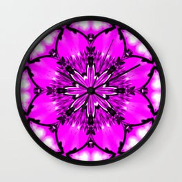 Eastern Redbud And The Bee Kaleidoscope Neon Pink Wall Clock