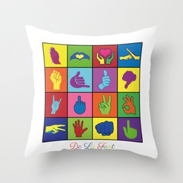 Hand Signs Rubik by DeLaFont Throw Pillow
