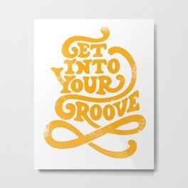 Get Into Your Groove Vintage Orange Metal Print