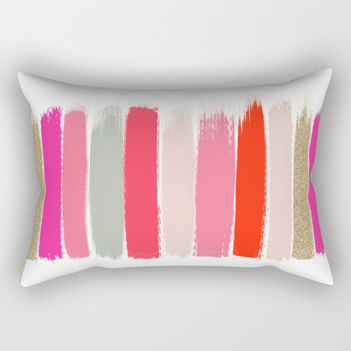 Minnie - Abstract Brushstroke pattern print in modern colors gold pink Rectangular Pillow