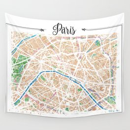 Watercolor map of Paris Wall Tapestry