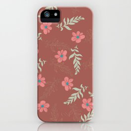 Botanical mint green gold terracotta leaves floral iPhone Case