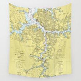 Norfolk VA, Porstmouth VA & Elizabeth River Map Wall Tapestry