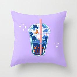 Space boba tea Throw Pillow