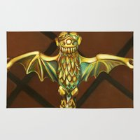 haunted mansion Area & Throw Rugs featuring Haunted Mansion Bat Stanchion by ArtisticAtrocities