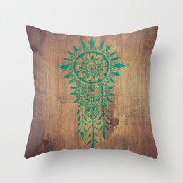 emerald green rustic mandala Throw Pillow