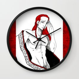 Damien in Red Wall Clock