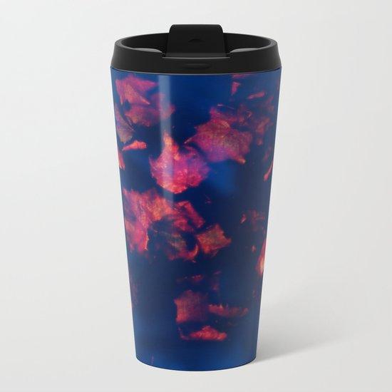 Rusty red falling leaves in dark blue water Metal Travel Mug