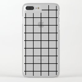 black and white grid pattern Clear iPhone Case