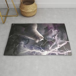 Lightning Wolf Howling At The Moon Rug