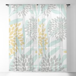 Floral Prints, Leaves and Blooms, Yellow, Gray and Aqua Sheer Curtain