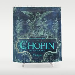 Frederick Chopin Blue Shower Curtain