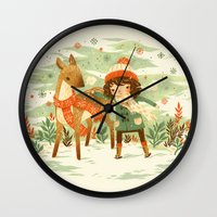 jon snow Wall Clocks featuring A Wobbly Pair by Teagan White