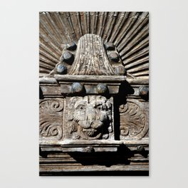 carved wooden door with lion Canvas Print