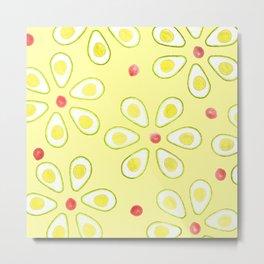 Avocado Sunny Party Pattern Metal Print