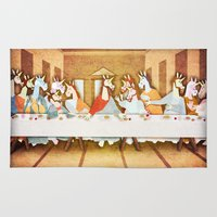 the last unicorn Area & Throw Rugs featuring Last Supper Unicorn by That's So Unicorny
