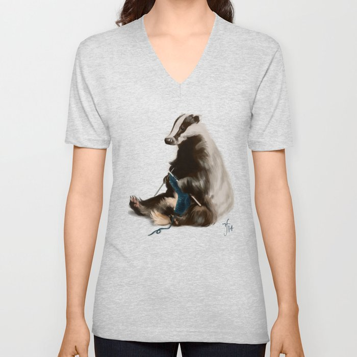 Badger Knitting a Scarf Unisex V-Neck