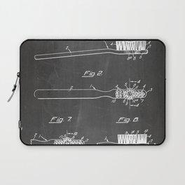 Toothbrush Patent - Bathroom Art - Black Chalkboard Laptop Sleeve