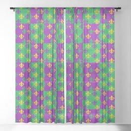 Mardi Gras Fleur-de-Lis Pattern Sheer Curtain