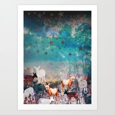 Deer Enchanted Forest  Art Print