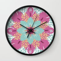 om Wall Clocks featuring Om by zakumy