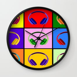 Pop Art Headphones Wall Clock