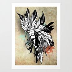 Native Girl Design Art Print