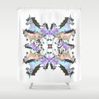 unicorns Shower Curtains featuring Unicorns by abbykaye