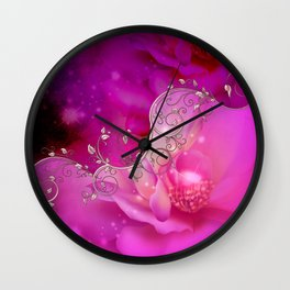 Wonderful floral design in ultra violet Wall Clock