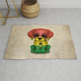 Cute Puppy Dog with flag of Ghana Rug