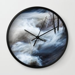Beautiful colorful rapids and tree branches close view Wall Clock