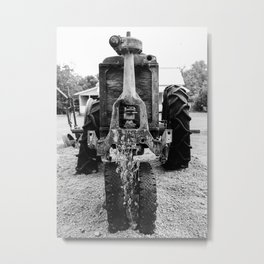 Antique Farm Tractor, Close-Up Photo, Black and White Metal Print