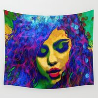 selena Wall Tapestries featuring Selena (pop) by    Amy Anderson