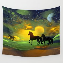 Awakening, Mysterious mixed media art with horses Wall Tapestry