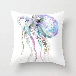 Octopus soft gray violet, turquoise soft colored octopus design beautiful octopus decor Throw Pillow