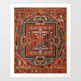Tibetan Thangka, Samsara Mandala, Buddhist Wheel of Life Art Print