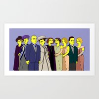 downton abbey Art Prints featuring Downton Abbey - Cast Upstairs - Nine by DonnaHuntriss