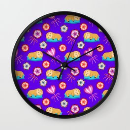 Sleeping happy lazy baby sloths, sweet vintage retro lollipops candy. Cute purple nursery pattern Wall Clock